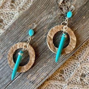 Turquoise Spike & Bead, Leather, Dangle Earrings